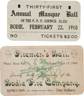 Western Expansion:Goldrush, [California Gold Mining] Two Bodie, California Cards (Tickets)....(Total: 2 Pair)