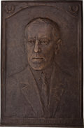 Political:3D & Other Display (1896-present), Woodrow Wilson: Large, Impressive Bronze Plaque....