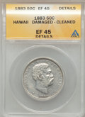 Coins of Hawaii: , 1883 50C Hawaii Half Dollar -- Cleaned, Damaged -- ANACS. XF45Details. NGC Census: (36/287). PCGS Population (64/398). Min...