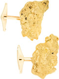 Western Expansion:Goldrush, Gold Rush: Substantial Gold Nugget Cufflinks.... (Total: 1 Pair)