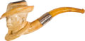 Antiques:Folk Art, Meerschaum Pipe of a Male African-American Slave Wearing a SlouchHat. ...