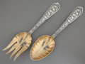 Silver Flatware, American:Wood & Hughes, A WOOD & HUGHES SILVER AND SILVER GILT SALAD SERVING SET . Wood& Hughes, New York, New York, circa 1875. Marks: W&H,ST... (Total: 2 Items)