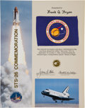 Transportation:Space Exploration, Space Shuttle Discovery (STS-26) Flown NASA Flag onPresentation Certificate. ...