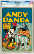 Golden Age (1938-1955):Funny Animal, Four Color #130 Andy Panda (Dell, 1946) CGC VF 8.0 Off-white towhite pages....