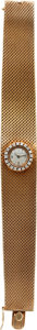 Estate Jewelry:Watches, LeCoultre Lady's Diamond, Gold Integral Bracelet Wristwatch, circa1960. ...