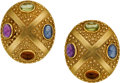 Estate Jewelry:Earrings, Multi-Stone, Gold Earrings. ...
