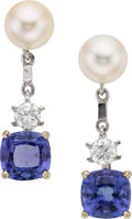Estate Jewelry:Earrings, Diamond, Tanzanite, Cultured Pearl, White Gold Earrings. ...
