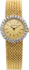 Estate Jewelry:Watches, Swiss Lady's Diamond, Gold Integral Bracelet Wristwatch. ...