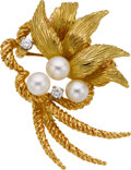 Estate Jewelry:Brooches - Pins, Cultured Pearl, Diamond, Gold Brooch, Peter Lindeman. ...