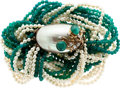 Estate Jewelry:Necklaces, Cultured Pearl, Emerald, Chrysoprase, White Stone, Gold Necklace, Seaman Schepps. ...