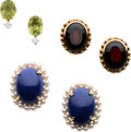 Estate Jewelry:Earrings, Multi-Stone, Cultured Pearl, Diamond, Gold Earring Lot. ...