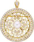 Estate Jewelry:Pendants and Lockets, South Sea Cultured Pearl, Diamond, Gold Pendant-Brooch. ...