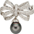 Estate Jewelry:Brooches - Pins, South Sea Cultured Pearl, Diamond, White Gold Brooch. ...