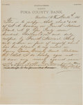 Autographs:Statesmen, Thomas Fitch: 1881 Autograph Letter from the Attorney Who Defendedthe Earps after the O.K. Corral Incident....