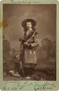 """Autographs:Celebrities, J. W. """"Captain Jack"""" Crawford: A Rare Pose in an Early, 1881-DatedSigned Photo...."""
