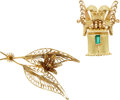 Estate Jewelry:Lots, Emerald, Gold Brooches. ...