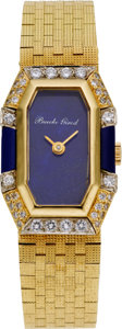 Estate Jewelry:Watches, Bueche Girod Lady's Diamond, Lapis Lazuli, Gold Integral BraceletWristwatch, circa 1980. ...
