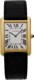 Estate Jewelry:Watches, Cartier Gentleman's Tank Solo Gold, Stainless Steel Wristwatch, modern. ...