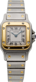 Estate Jewelry:Watches, Cartier Lady's Gold, Stainless Steel Santos Galbee Wristwatch. ...