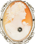 Estate Jewelry:Cameos, Shell Cameo, Diamond, White Gold Pendant-Brooch. ...