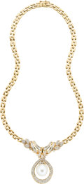 Estate Jewelry:Necklaces, South Sea Cultured Pearl, Diamond, Gold Necklace. ... (Total: 1Pieces)