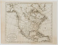 Antiques:Posters & Prints, Russell. Lovely Engraved Map of North America. [ca. 1790]. Measures8 x 10.5 inches. Two fold lines, one with a one-inch sep...