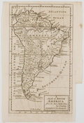 Antiques:Posters & Prints, I. Cowley. Engraved Map of South America. London, [ca. 1761].Measures 9.5 x 6 inches. Two-inch tear with tape to rear. Mild...