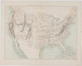 Antiques:Posters & Prints, W. Hughes. Color Map of The United States. London: Virtue, [ca.19th Century]. Measures 10.5 x 13.5 inches. Fold through cen...