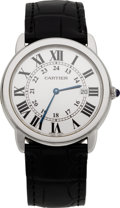 Estate Jewelry:Watches, Cartier Gentleman's Ronde Solo Stainless Steel Wristwatch, modern. ...