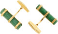 Estate Jewelry:Cufflinks, Aventurine, Gold Cuff Links. ...
