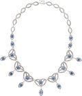 Estate Jewelry:Necklaces, Sapphire, Diamond, White Gold Necklace. ...