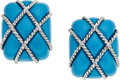 Estate Jewelry:Earrings, Turquoise, White Gold Earrings. ...