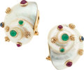 Estate Jewelry:Boxes, Mother of Pearl, Emerald, Ruby, Sapphire, Gold Earrings. ...