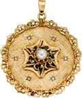 Estate Jewelry:Pendants and Lockets, Cultured Pearl, Diamond, Gold Pendant. ...