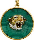Estate Jewelry:Pendants and Lockets, Malachite, Enamel, Gold Pendant. ...