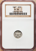 Proof Three Cent Silver, 1867 3CS PR64 NGC....
