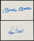 Baseball Collectibles:Others, Mickey Mantle and Roger Maris Signed Index Cards Lot of 2....