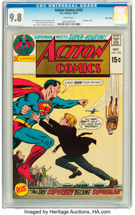 Action Comics #393 Twin Cities pedigree (DC, 1970) CGC NM/MT 9.8 White pages....