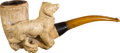 Antiques:Folk Art, Large Meerschaum Pipe Featuring an Animated Dog. ...