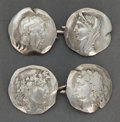 Jewelry, A PAIR OF SHIEBLER SILVER CUFFLINKS . George W. Shiebler & Co., New York, New York, circa 1870. Marks: (winged S), STERLIN... (Total: 2 Items)