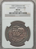 German States:Saxony, German States: Saxony. Friedrich August III 5 Mark 1909 MS66 NGC,...