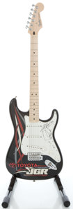 Musical Instruments:Electric Guitars, 2008 Fender Stratocaster Limited Run MIM Black Solid Body ElectricGuitar, Serial #MZ8118624....