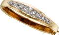 Estate Jewelry:Bracelets, Diamond, Gold Bangle. ...