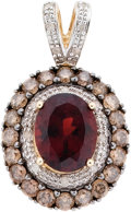 Estate Jewelry:Pendants and Lockets, Garnet, Colored Diamond, Diamond, Gold Pendant. ...