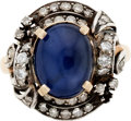Estate Jewelry:Rings, Star Sapphire, Diamond, Silver-Topped Gold Ring. ...