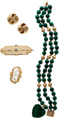 Estate Jewelry:Lots, Malachite, Cultured Pearl, Diamond, Gold Jewelry. ...