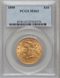 Liberty Eagles: , 1898 $10 MS63 PCGS. PCGS Population (209/78). NGC Census:(309/139). Mintage: 812,197. Numismedia Wsl. Price for problemfr...