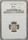 Seated Half Dimes: , 1862 H10C MS64 NGC. NGC Census: (157/153). PCGS Population(119/128). Mintage: 1,492,550. Numismedia Wsl. Price for problem...