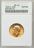 Australia, Australia: George V gold Sovereign 1925-S,...