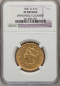Liberty Eagles, 1847-O $10 --Improperly Cleaned--NGC Details. XF. NGC Census:(74/622). PCGS Population (117/262). Mintage: 571,500. Numisme...